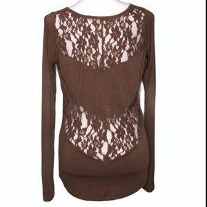 Jolt Long Sleeve Sheer Brown Lace Shirt
